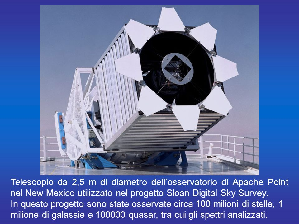 Telescopio da 2,5 m di diametro dell'osservatorio di Apache Point nel New Mexico utilizzato nel progetto Sloan Digital Sky Survey.