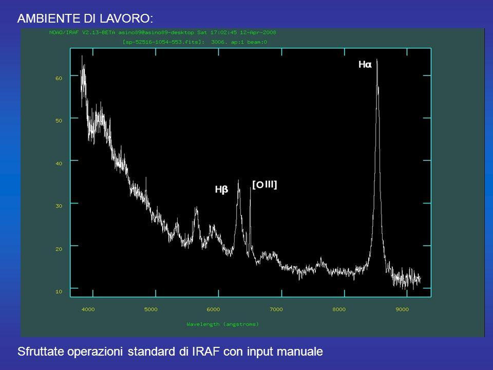 AMBIENTE DI LAVORO: Sfruttate operazioni standard di IRAF con input manuale