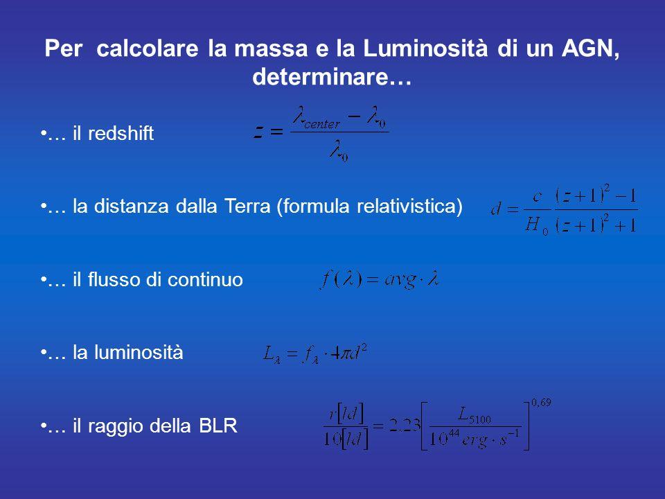 Per calcolare la massa e la Luminosità di un AGN, determinare…