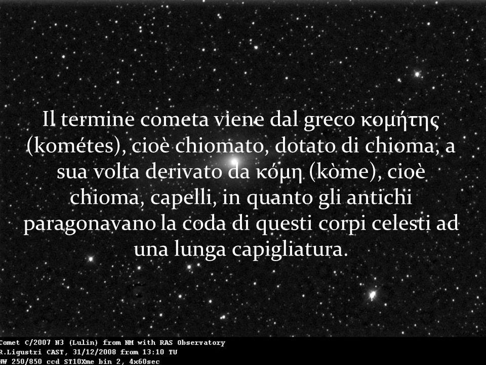 Il termine cometa viene dal greco κομήτης (kométes), cioè chiomato, dotato di chioma, a sua volta derivato da κόμη (kòme), cioè chioma, capelli, in quanto gli antichi paragonavano la coda di questi corpi celesti ad una lunga capigliatura.