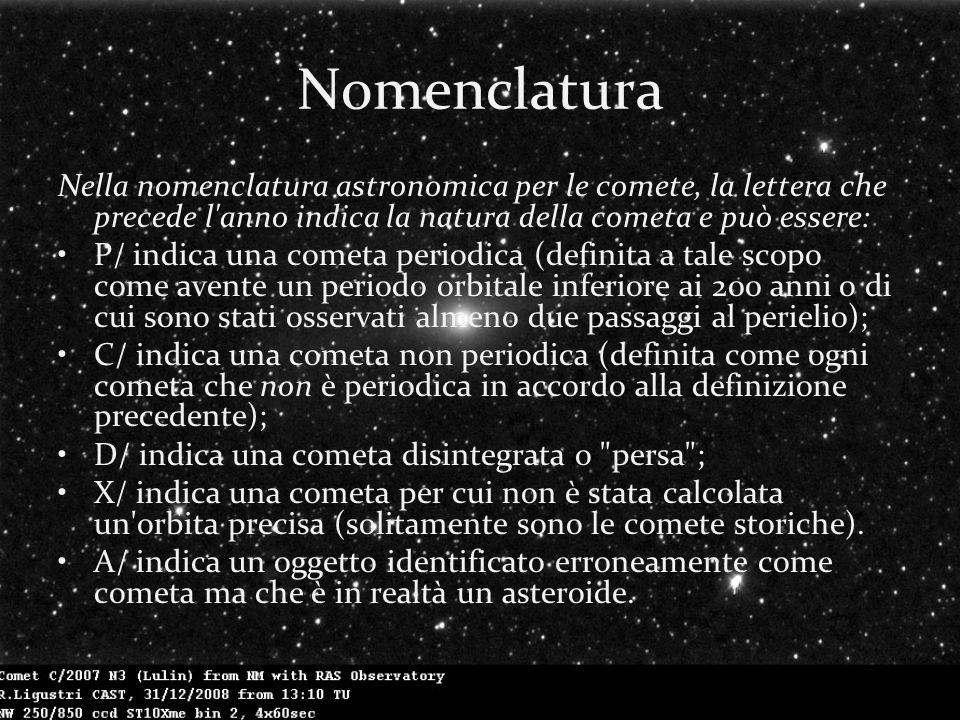 Nomenclatura Nella nomenclatura astronomica per le comete, la lettera che precede l anno indica la natura della cometa e può essere: