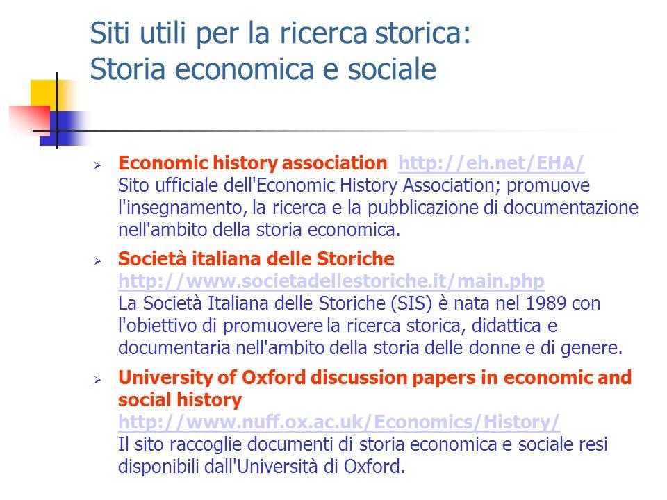 Siti utili per la ricerca storica: Storia economica e sociale