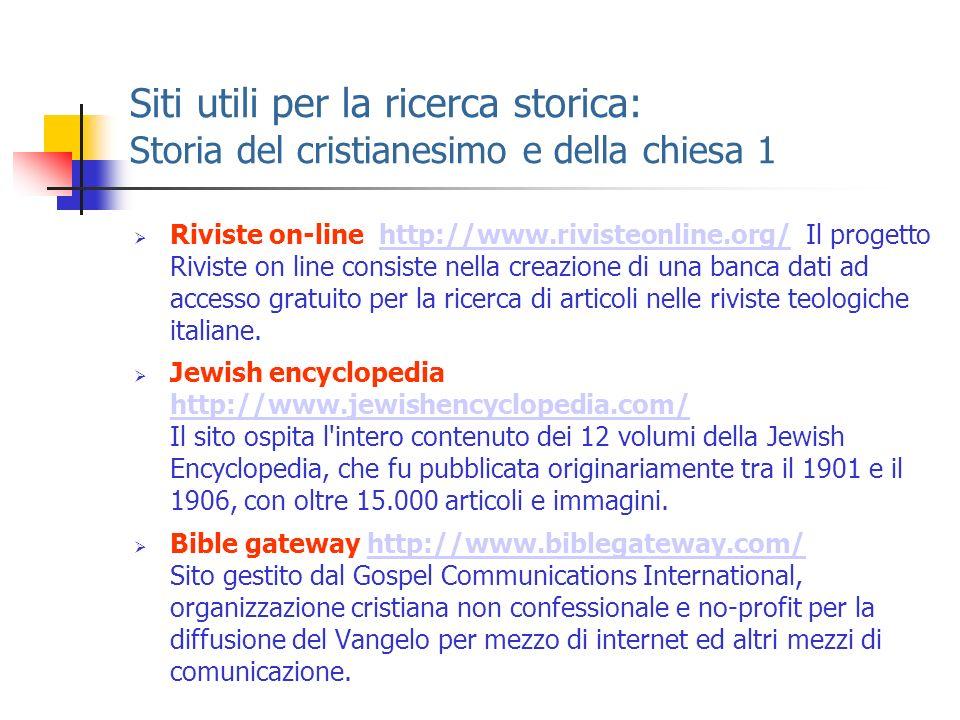 Siti utili per la ricerca storica: Storia del cristianesimo e della chiesa 1