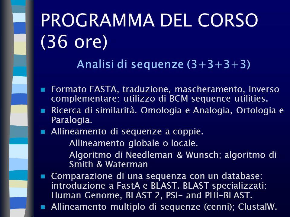 PROGRAMMA DEL CORSO (36 ore)