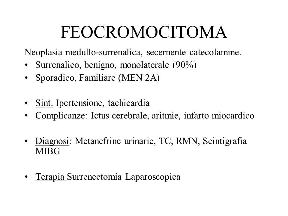FEOCROMOCITOMA Neoplasia medullo-surrenalica, secernente catecolamine.