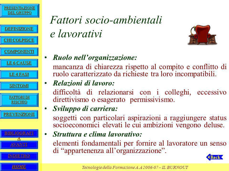 Fattori socio-ambientali e lavorativi