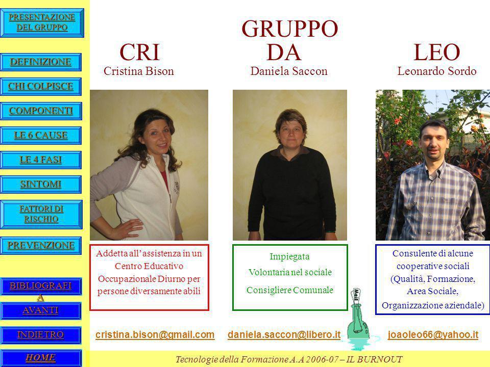 GRUPPO CRI DA LEO Cristina Bison Daniela Saccon Leonardo Sordo
