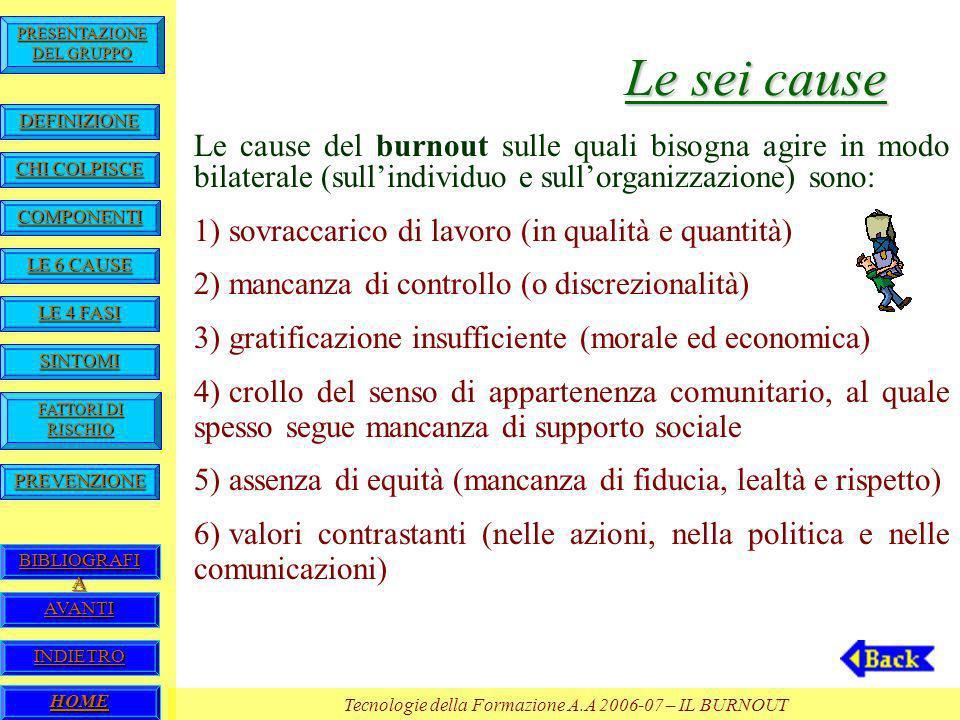 Le sei cause Le cause del burnout sulle quali bisogna agire in modo bilaterale (sull'individuo e sull'organizzazione) sono: