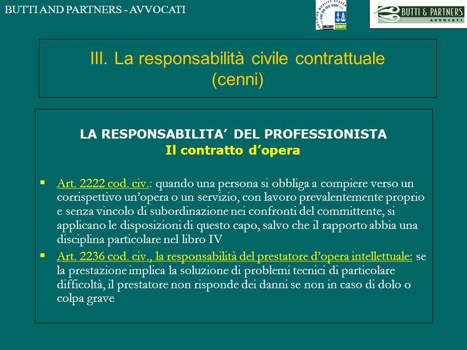 III. La responsabilità civile contrattuale (cenni)