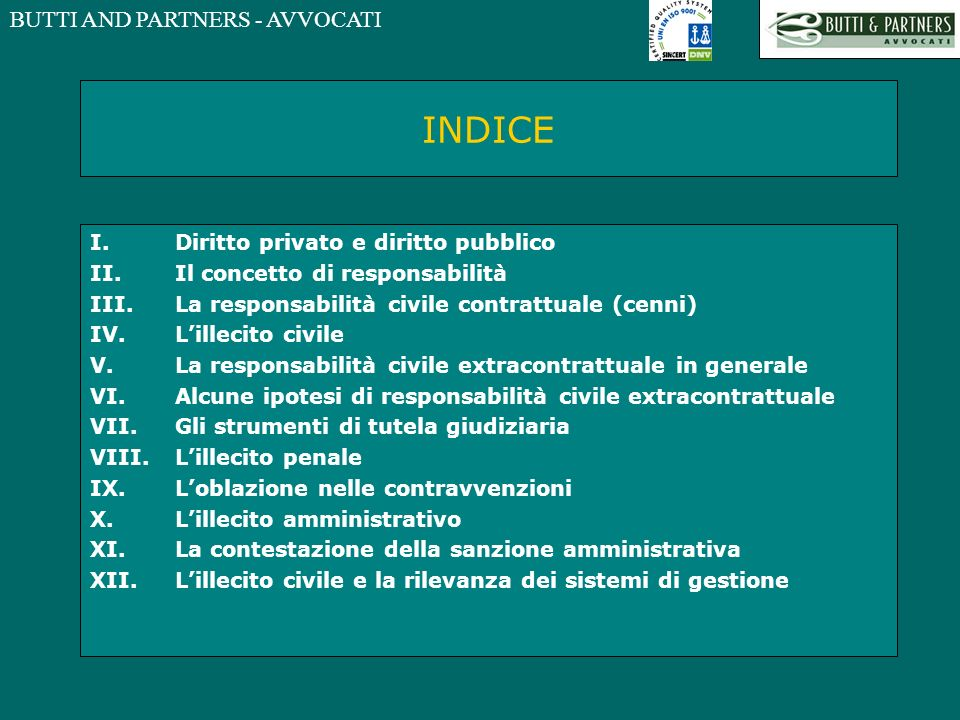 INDICE Diritto privato e diritto pubblico