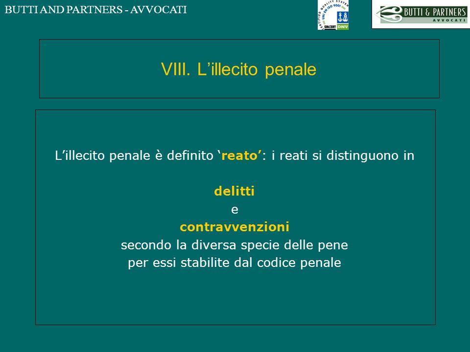 VIII. L'illecito penale
