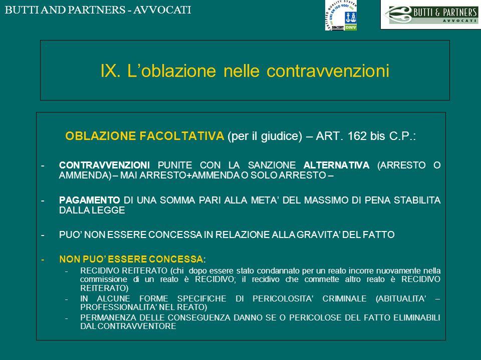 IX. L'oblazione nelle contravvenzioni
