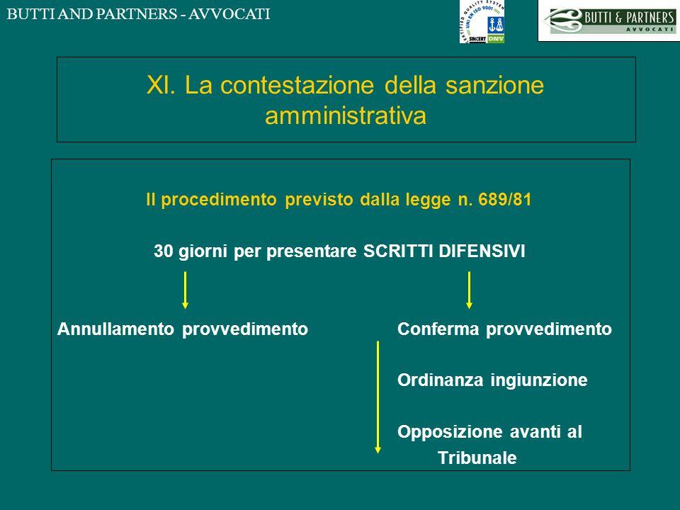 XI. La contestazione della sanzione amministrativa