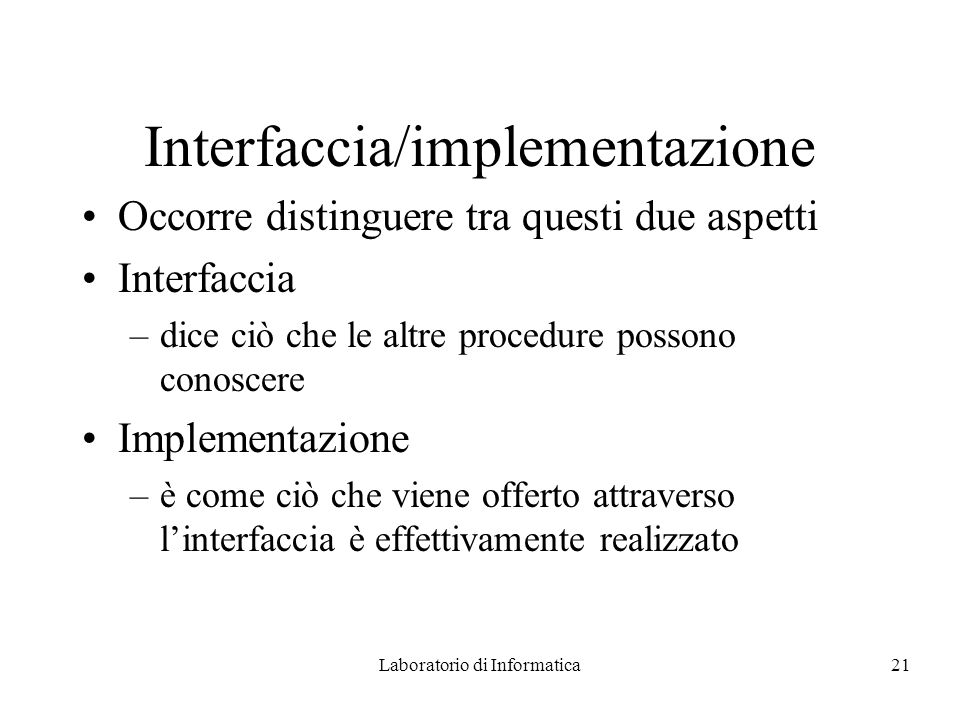 Interfaccia/implementazione