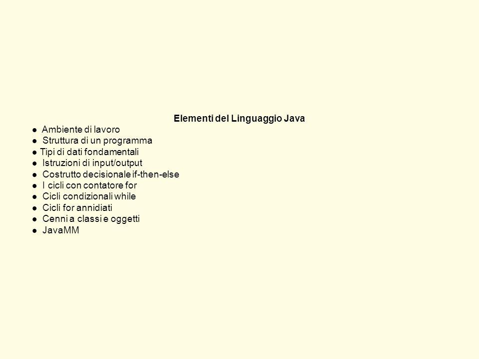 Elementi del Linguaggio Java
