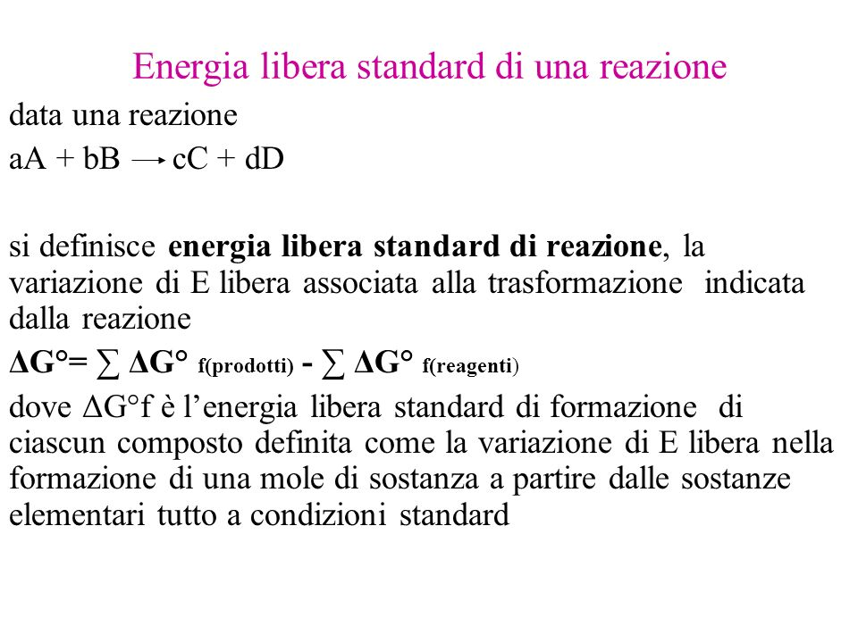 Energia libera standard di una reazione