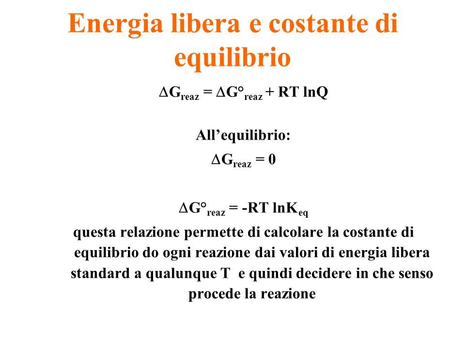 Energia libera e costante di equilibrio