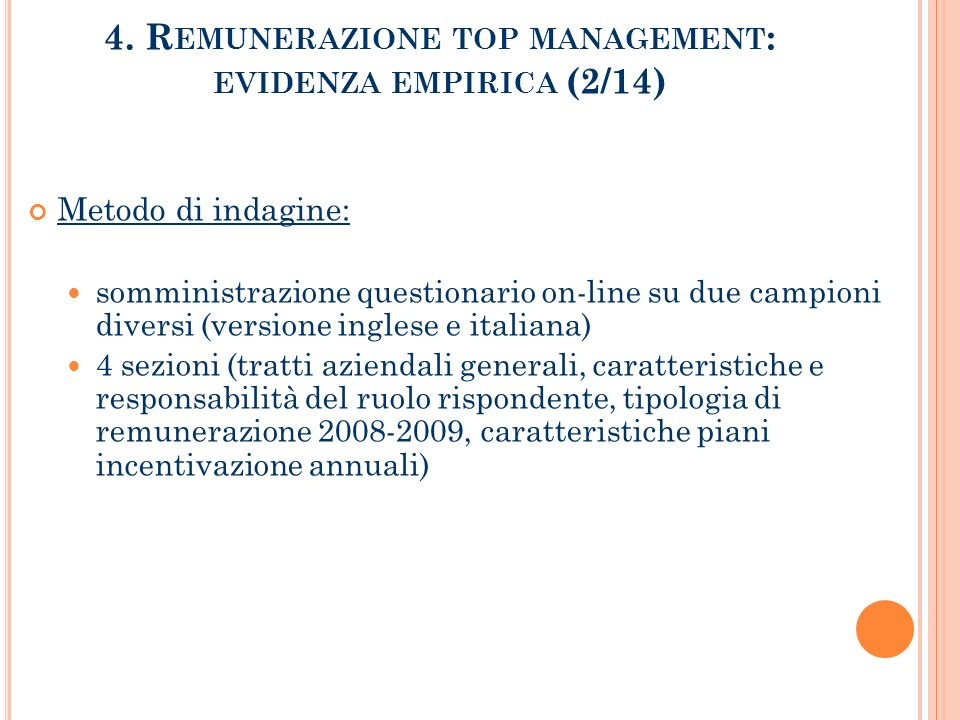 4. Remunerazione top management: evidenza empirica (2/14)