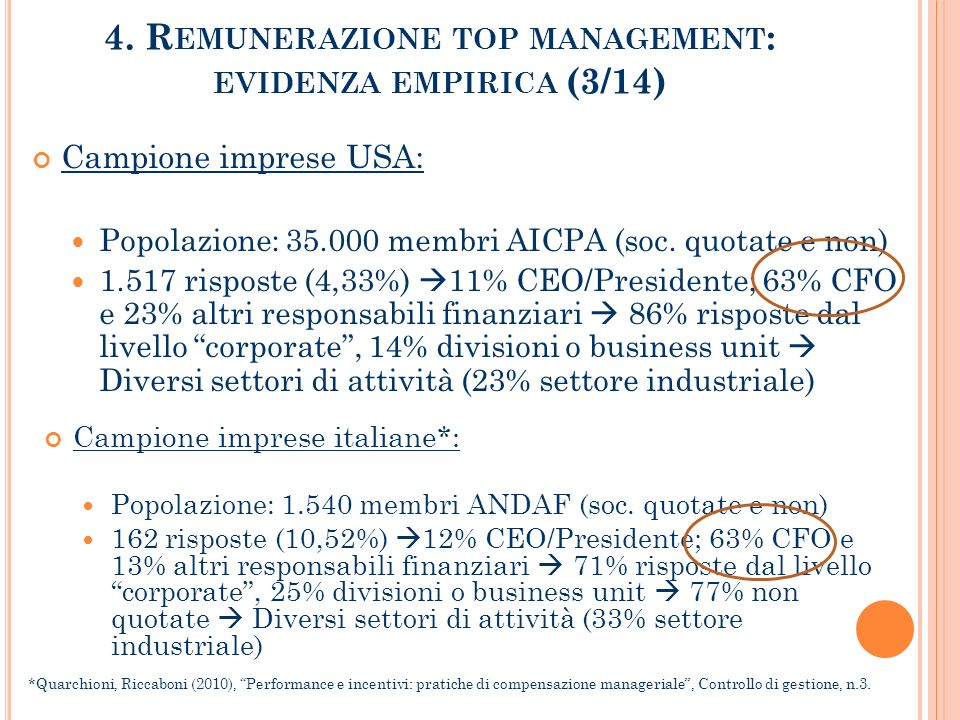 4. Remunerazione top management: evidenza empirica (3/14)