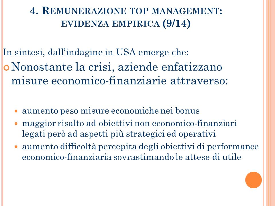 4. Remunerazione top management: evidenza empirica (9/14)