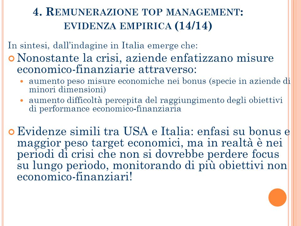 4. Remunerazione top management: evidenza empirica (14/14)