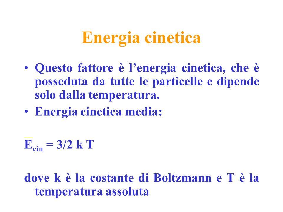 Energia cinetica Questo fattore è l'energia cinetica, che è posseduta da tutte le particelle e dipende solo dalla temperatura.