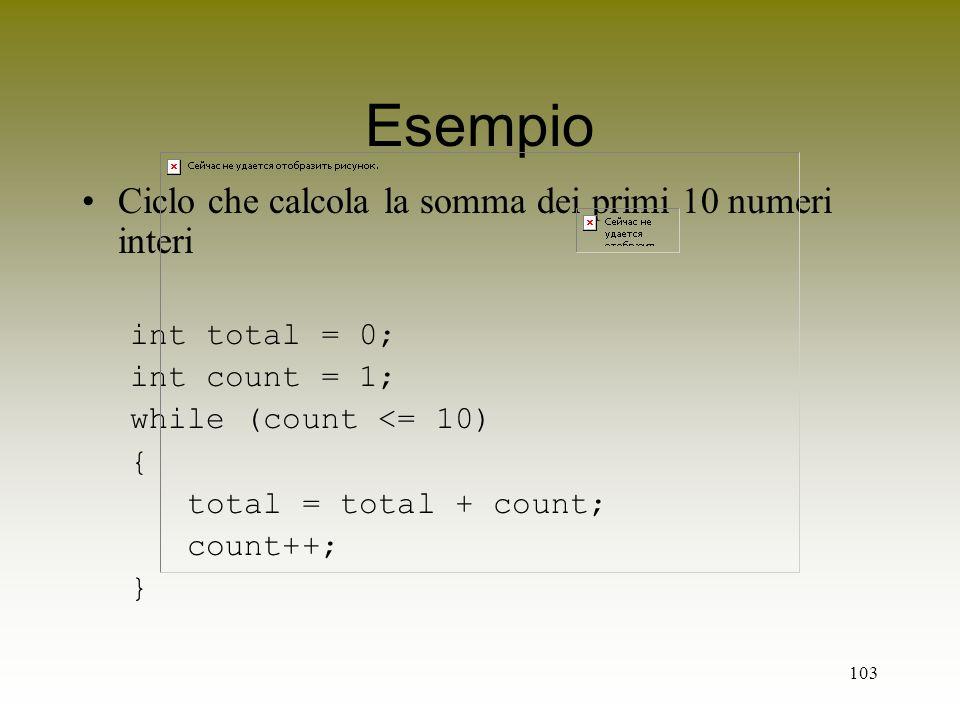 Esempio Ciclo che calcola la somma dei primi 10 numeri interi