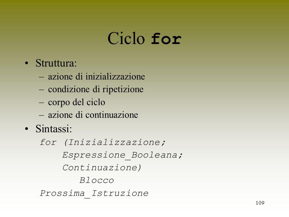 Ciclo for Struttura: Sintassi: azione di inizializzazione