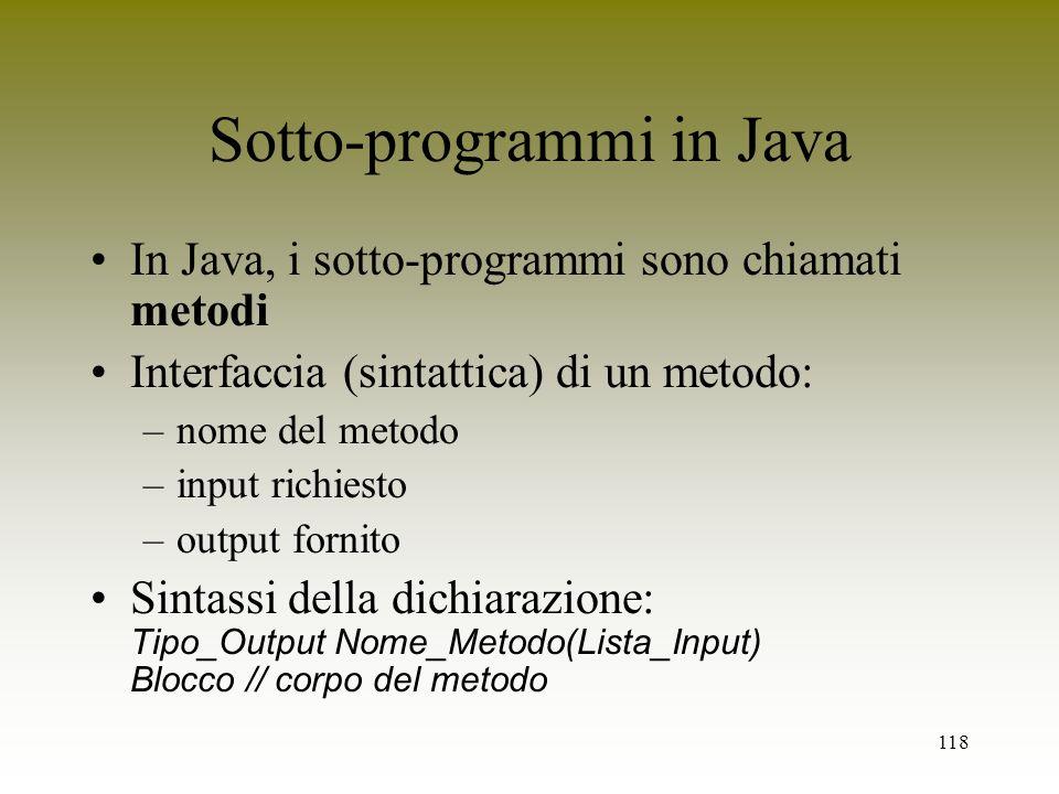 Sotto-programmi in Java