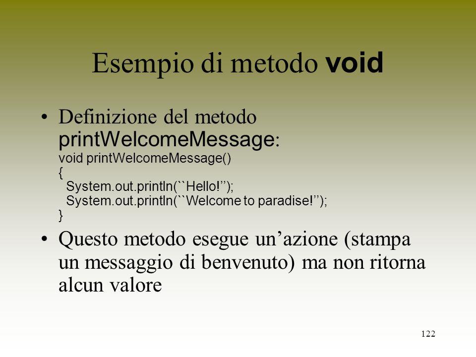 Esempio di metodo void