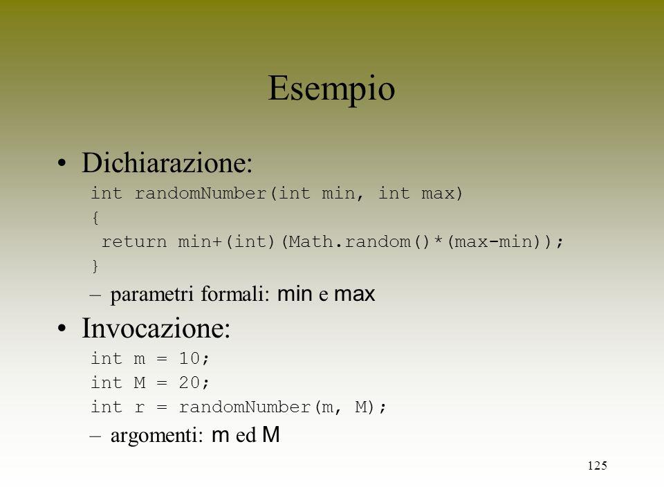 Esempio Dichiarazione: Invocazione: parametri formali: min e max