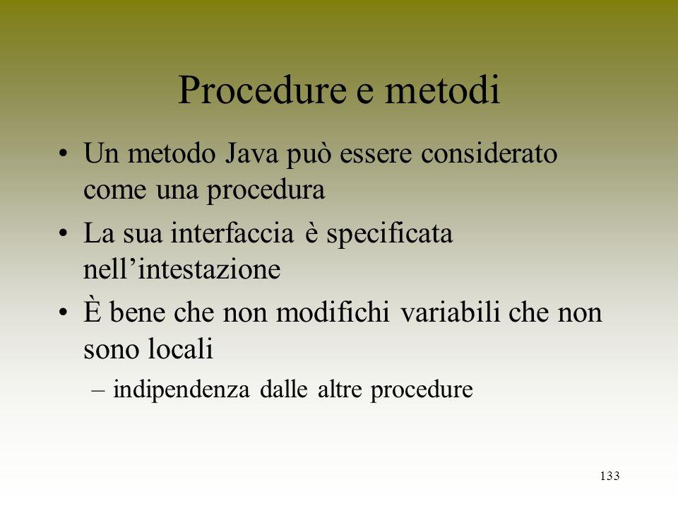 Procedure e metodi Un metodo Java può essere considerato come una procedura. La sua interfaccia è specificata nell'intestazione.