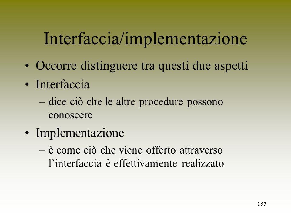 Interfaccia/implementazione