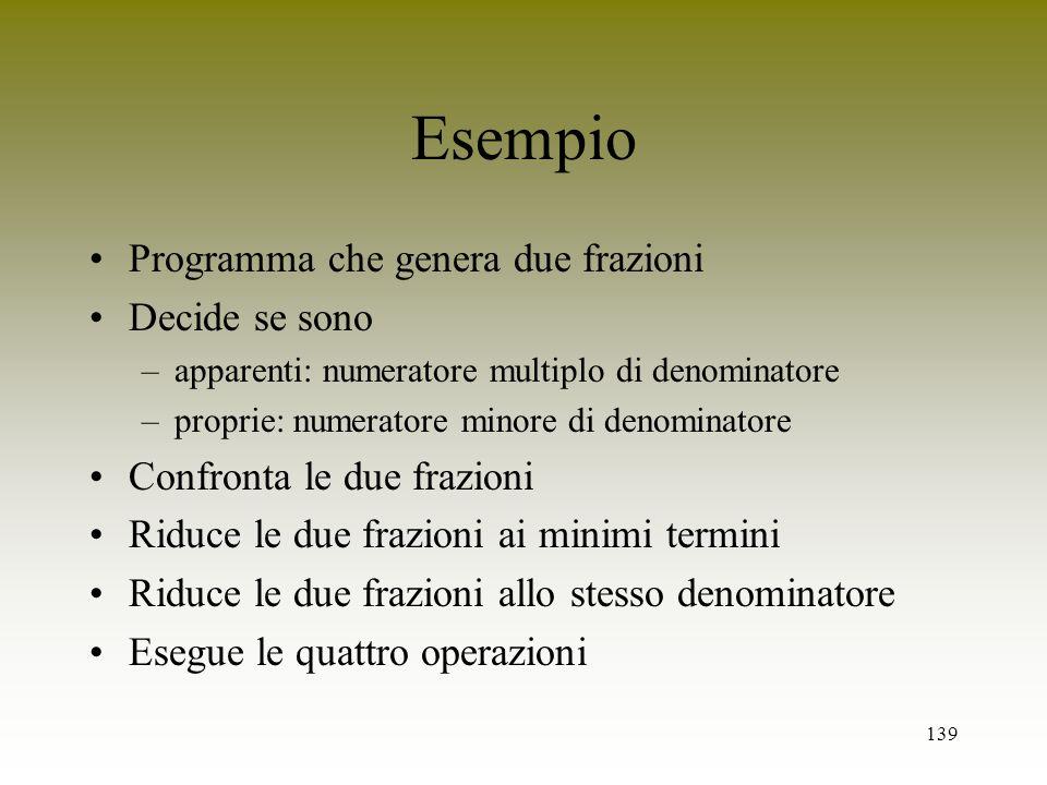 Esempio Programma che genera due frazioni Decide se sono