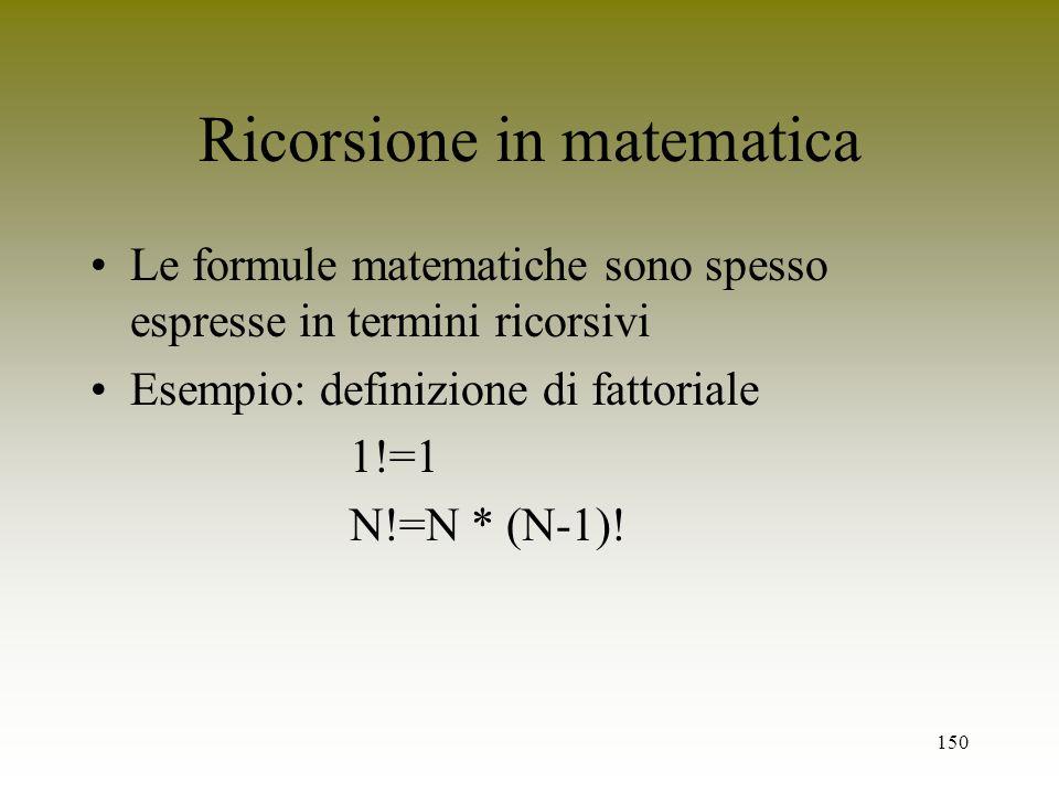 Ricorsione in matematica