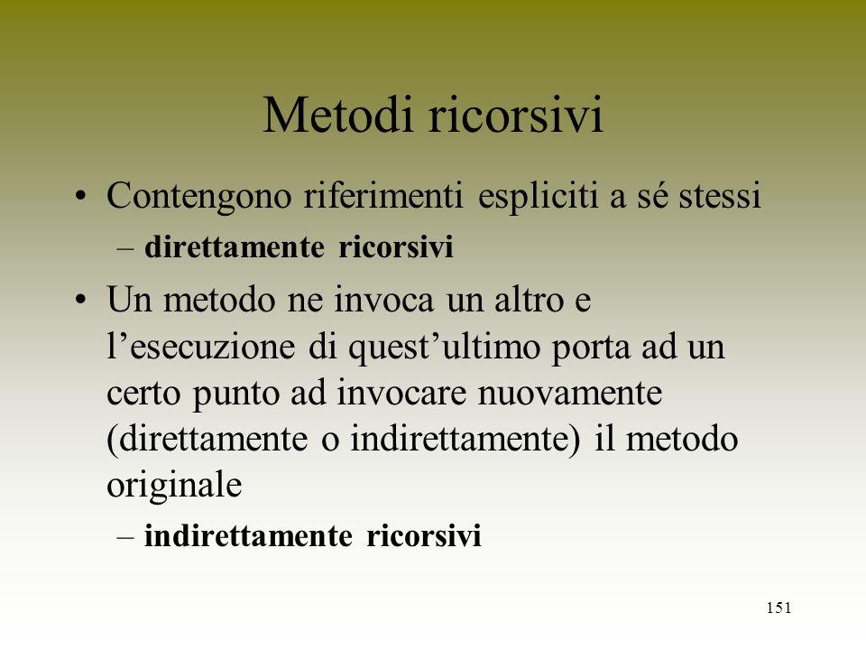 Metodi ricorsivi Contengono riferimenti espliciti a sé stessi