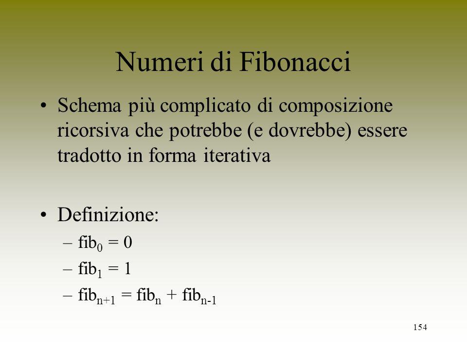 Numeri di Fibonacci Schema più complicato di composizione ricorsiva che potrebbe (e dovrebbe) essere tradotto in forma iterativa.