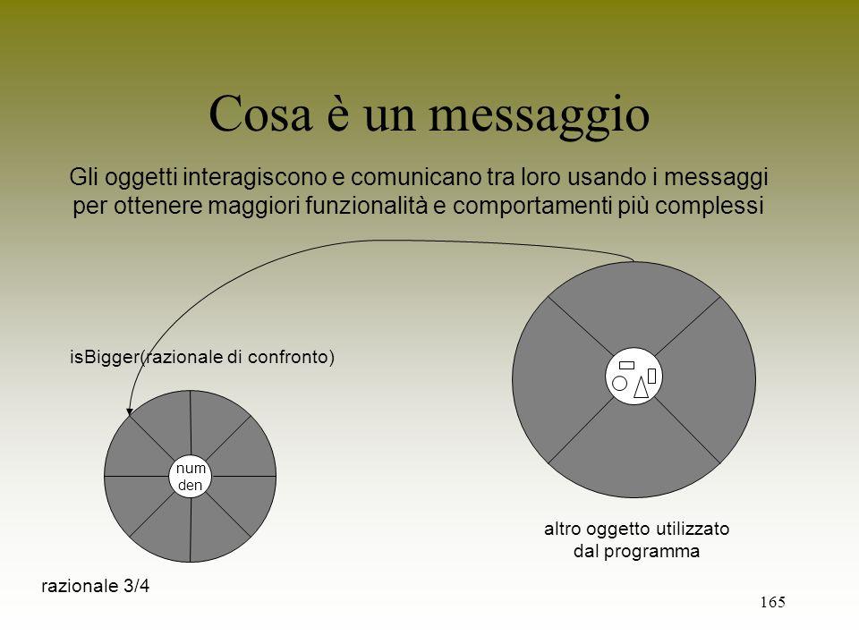 Cosa è un messaggioGli oggetti interagiscono e comunicano tra loro usando i messaggi.