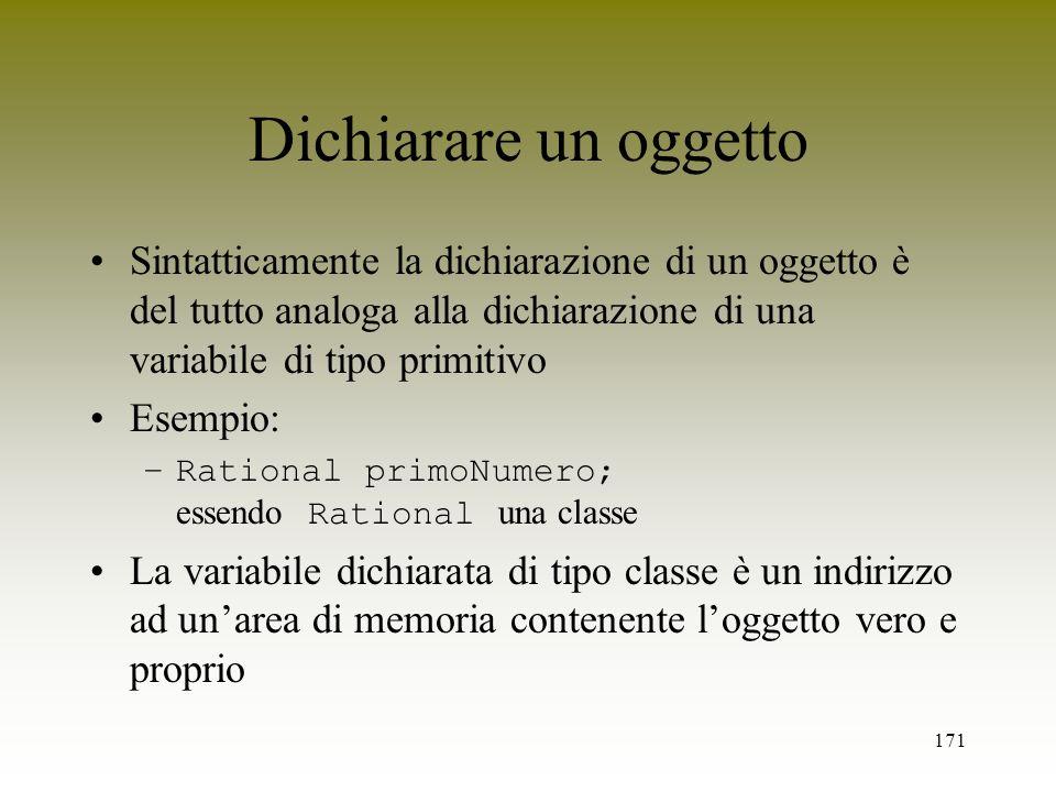 Dichiarare un oggettoSintatticamente la dichiarazione di un oggetto è del tutto analoga alla dichiarazione di una variabile di tipo primitivo.