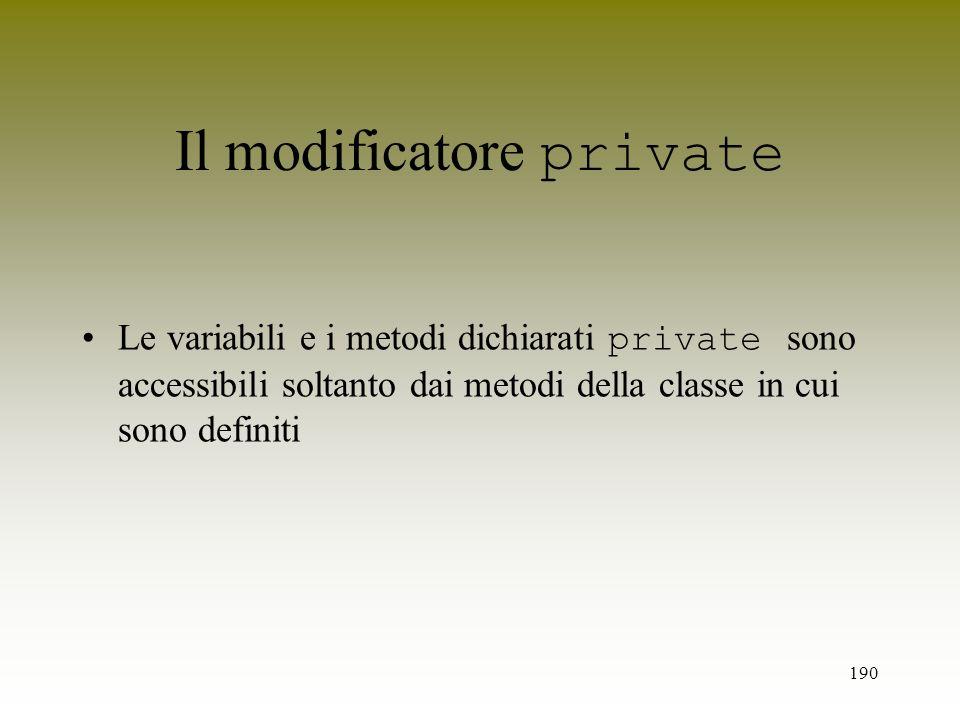 Il modificatore private