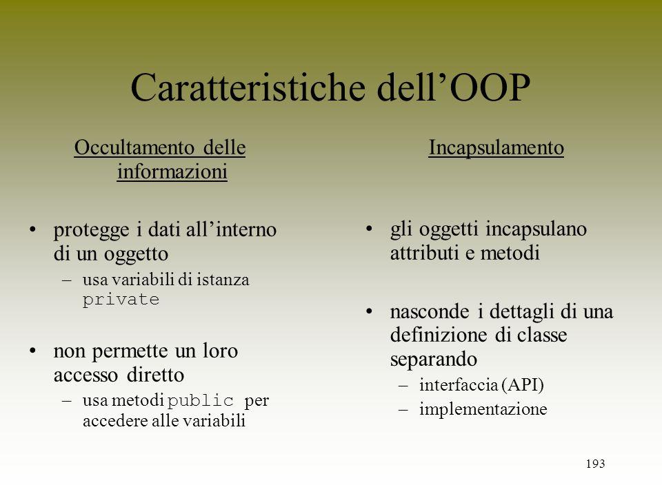 Caratteristiche dell'OOP