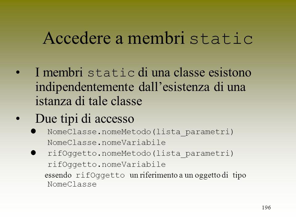 Accedere a membri static