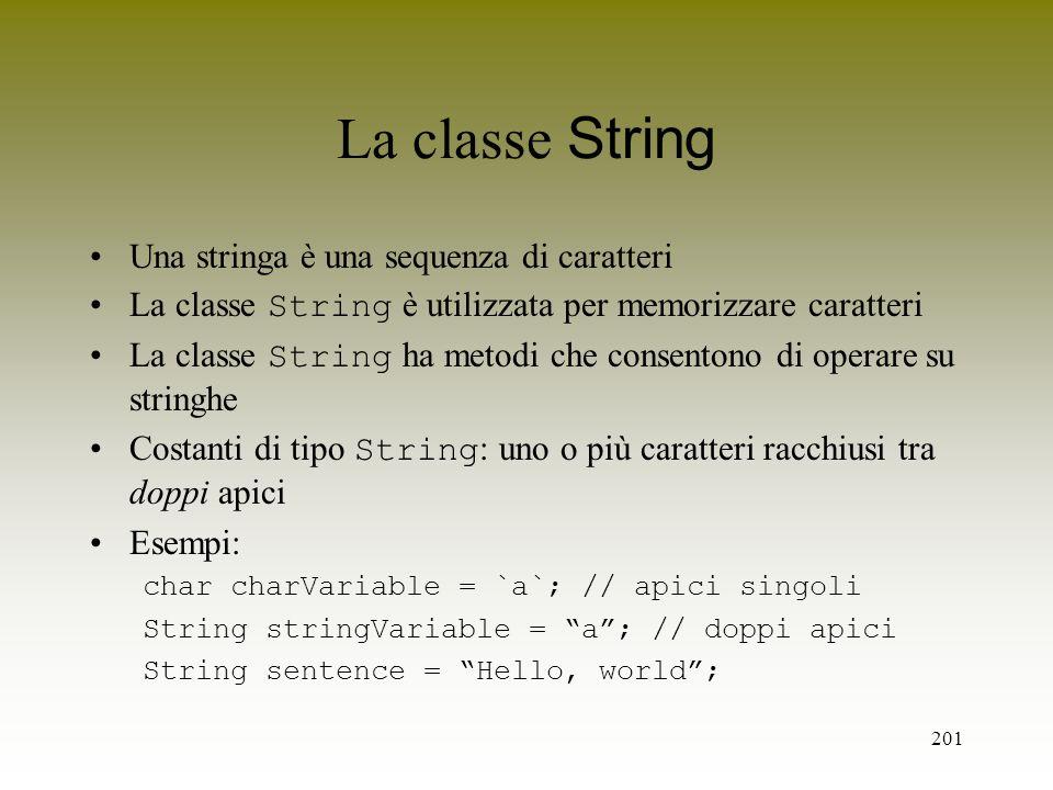 La classe String Una stringa è una sequenza di caratteri