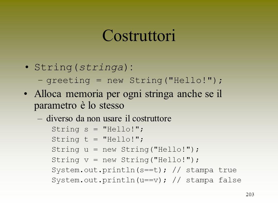 Costruttori String(stringa):