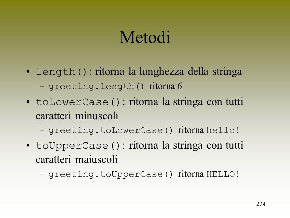 Metodi length(): ritorna la lunghezza della stringa