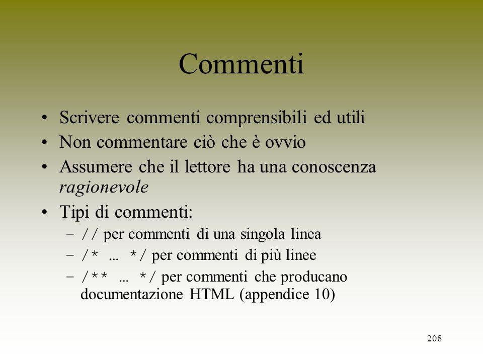 Commenti Scrivere commenti comprensibili ed utili