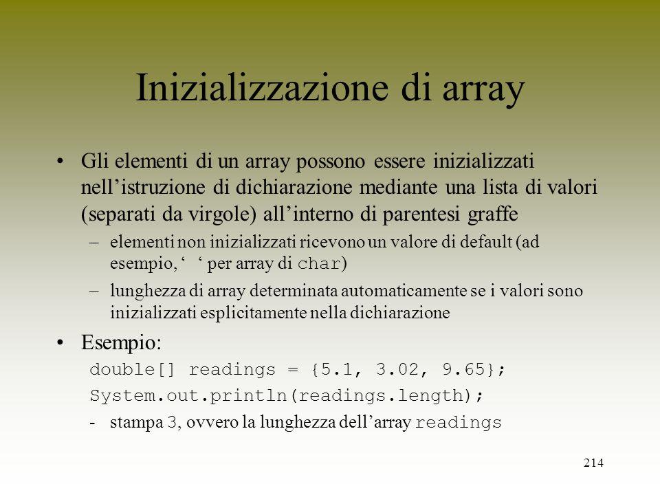 Inizializzazione di array