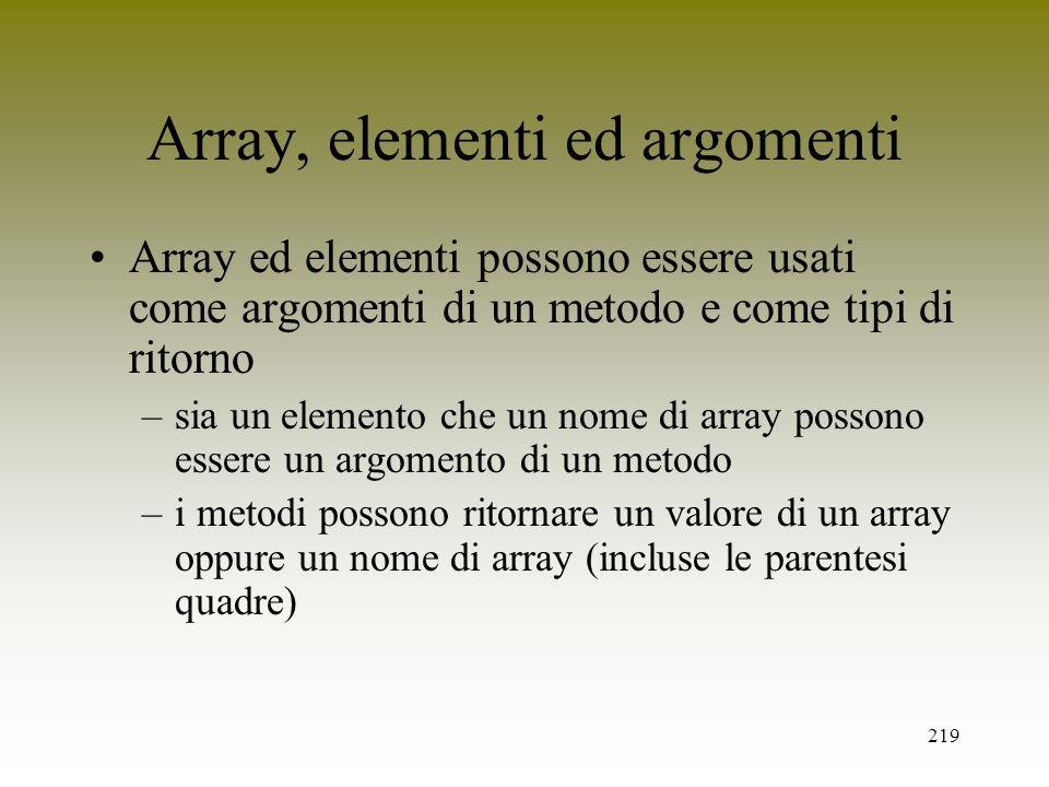 Array, elementi ed argomenti