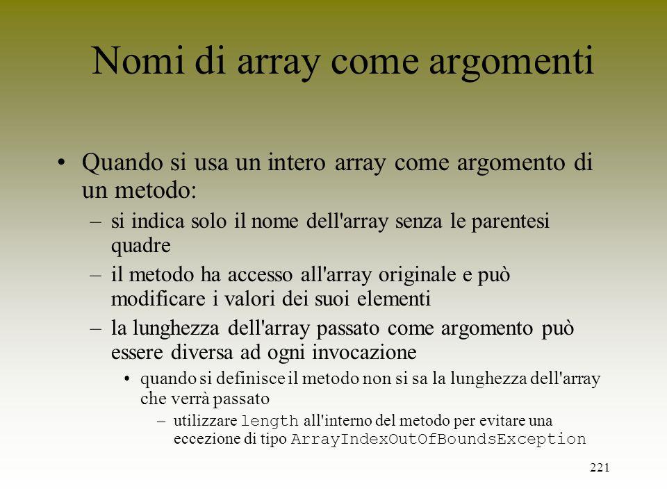 Nomi di array come argomenti
