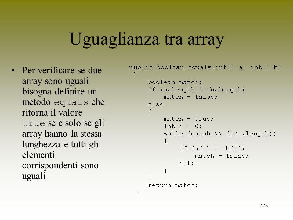 Uguaglianza tra array